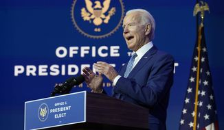 President-elect Joe Biden speaks at The Queen theater, Monday, Nov. 9, 2020, in Wilmington, Del. (AP Photo/Carolyn Kaster)