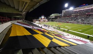 Empty stands are seen prior to NCAA college football game between Maryland and Minnesota, Friday, Oct. 30, 2020, in College Park, Md. (AP Photo/Julio Cortez)  **FILE**