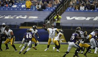 Pittsburgh Steelers quarterback Ben Roethlisberger throws during the first half of an NFL football game, Sunday, Nov. 1, 2020, in Baltimore. (AP Photo/Gail Burton)