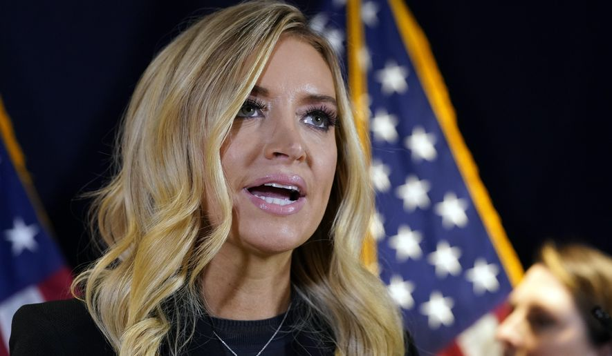White House press secretary Kayleigh McEnany speaks during a news conference at the Republican National Committee, Monday, Nov. 9, 2020, in Washington. (AP Photo/Alex Brandon)