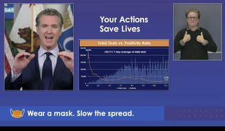 """California Gov. Gavin Newsom conducts his weekly news conference in this photo from an internet stream provided by the Office of the Governor in Sacramento, Calif., Monday, Nov. 9, 2020. Newsom says California is slipping with a """"obviously sobering"""" increase in coronavirus cases that may be partially linked to Halloween. He spoke Monday as 11 San Francisco Bay Area health officers urged residents there to quarantine for two weeks if they venture outside the region. Coronavirus case numbers, the positivity rate, hospitalizations and intensive care cases all have reached their highest level in months. (Office of the Governor via AP)"""