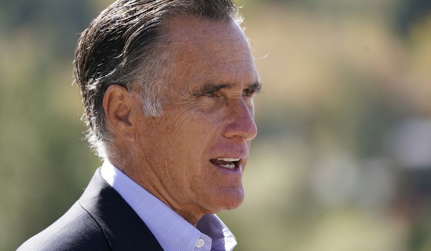 Sen. Mitt Romney, R-Utah, speaks during a news conference on Oct. 15, 2020, near Neffs Canyon, in Salt Lake City. President Donald Trump will likely continue to have influence in Republican politics, even after the presidential election was called for Democrat Joe Biden, his most vocal critic within the party said Tuesday, Nov. 10, 2020. Romney said Trump's significant presence on social media and his ability to turn out the vote among his political supporters mean he isn't going away. (AP Photo/Rick Bowmer, File)