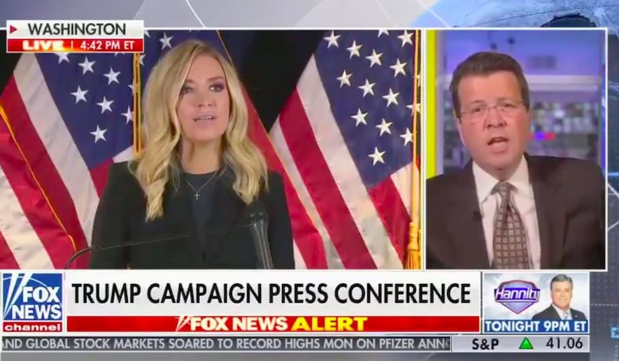 """Fox News host Neil Cavuto cut away from White House Press Secretary Kayleigh McEnany's press briefing Monday, saying he couldn't in """"good countenance"""" continue airing it without the chance to fact-check her voter fraud claims. (Screengrab via Fox News)"""