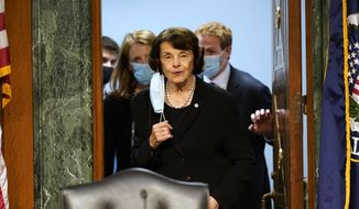 Sen. Dianne Feinstein, D-Calif., arrives for a Senate Judiciary Committee hearing on Capitol Hill in Washington, Tuesday, Nov. 10, 2020, on a probe of the FBI's Russia investigation. (AP Photo/Susan Walsh, Pool) **FILE**