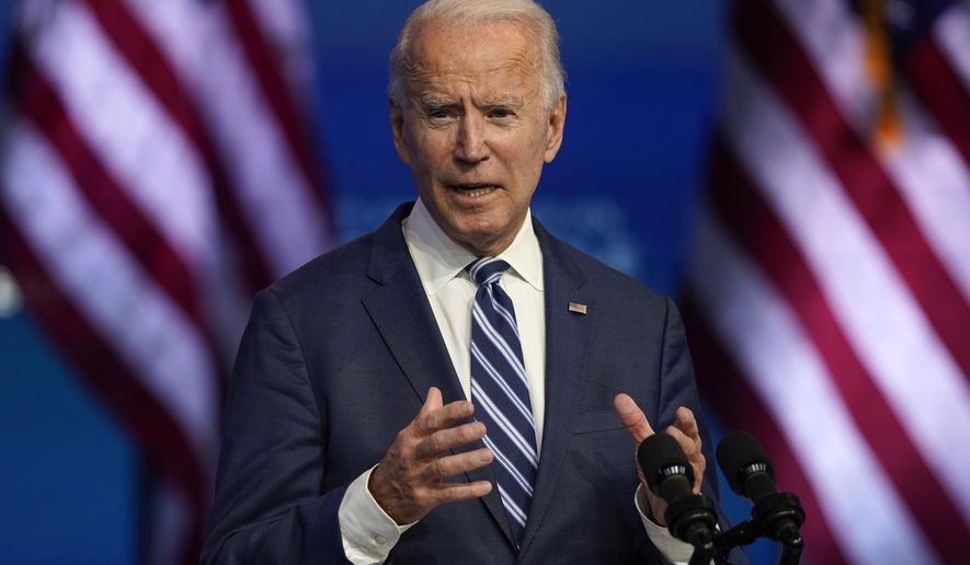 President-elect Joe Biden speaks Tuesday, Nov. 10, 2020, at The Queen theater in Wilmington, Del. (AP Photo/Carolyn Kaster)