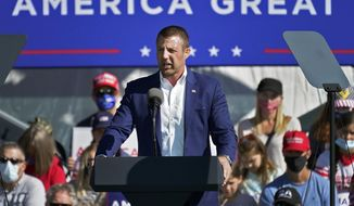 U.S. Rep. Markwayne Mullin, R-Okla., speaks at a campaign rally, Friday, Oct. 30, 2020, in Flagstaff, Ariz. Until recently, Congress hasn't had many Native American members but hope is growing as the Native delegation in the U.S. House increased by two on Election Day along with four Native Americans who won reelection including Mullin who is Cherokee.(AP Photo/Matt York)