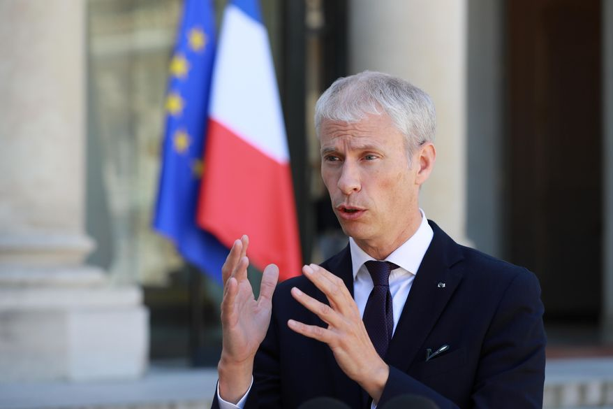 """FILE - In this May, 6 ,2020 file photo, then French culture minister Franck Riester makes a statement at the Elysee Palace in Paris. France's trade minister Franck Riester hopes U.S. President-elect Joe Biden acts soon to calm trade tensions fueled by Donald Trump, which have led to escalating tariffs on both sides of the Atlantic hitting billions of dollars worth of wine, cars and other goods. In an interview with The Associated Press, Riester accused the U.S. of blocking the appointment of the World Trade Organization's next director and said France is """"optimistic"""" that Biden will improve U.S. ties with Europe and the world. (Ludovic Marin, Pool via AP, File)"""