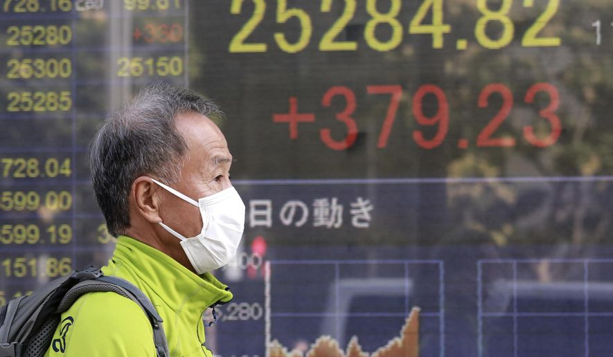 A man walks by an electronic stock board of a securities firm in Tokyo, Wednesday, Nov. 11, 2020. Shares were mostly higher Wednesday in Asia after a worldwide rally spurred by hopes that a COVID-19 vaccine will help the global economy return to normal. (AP Photo/Koji Sasahara)