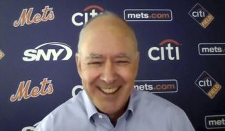This photo from a Zoom press conference shows New York Mets President Sandy Alderson, Tuesday, Nov. 10, 2020. Alderson returned as team president Friday when Steve Cohen bought the Mets from the Wilpon and Katz families. (New York Mets via AP)