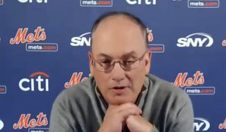 This photo from a Zoom press conference shows New York Mets owner Steve Cohen, Tuesday, Nov. 10, 2020.  (New York Mets via AP)