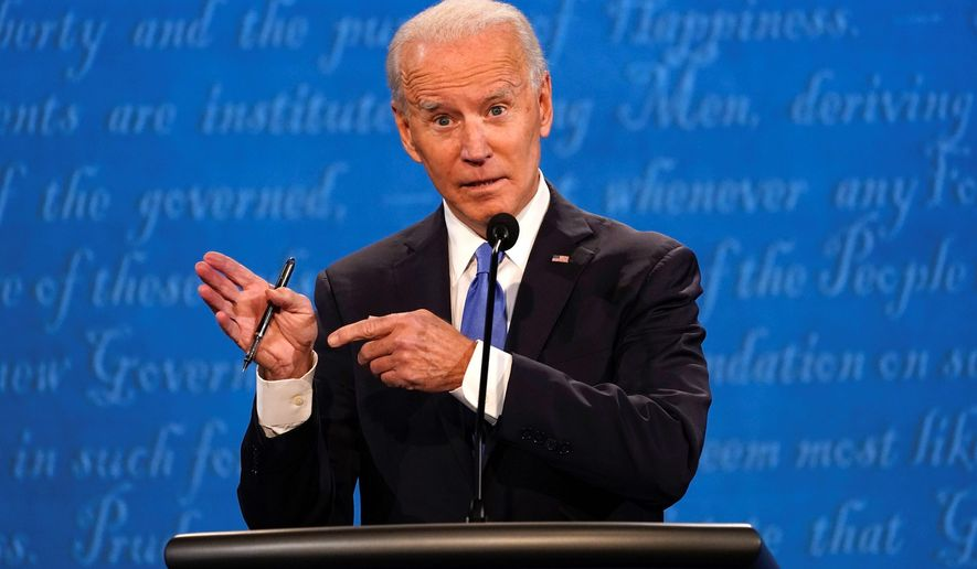 "Former Vice President Joseph R. Biden said during the first presidential debate that counting ballots takes time and when the moderator asked if he wouldn't declare victory until the election was certified said ""yes."" (ASSOCIATED PRESS)"