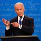 """Former Vice President Joseph R. Biden said during the first presidential debate that counting ballots takes time and when the moderator asked if he wouldn't declare victory until the election was certified said """"yes."""" (ASSOCIATED PRESS)"""