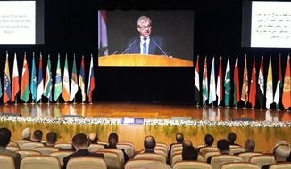 In this photo released by the Syrian official news agency SANA, the Russian President's Special Envoy for Syria Alexander Lavrentiev virtually addresses the opening session of a two-day international conference organized by Russia on the return of refugees, in Damascus, Syria, Wednesday, Nov. 11, 2020. The Syrian government is working to secure the return of millions of refugees who fled war in their country, but Western sanctions are hindering the work of state institutions, complicating those plans, President Bashar Assad said Wednesday. (SANA via AP)