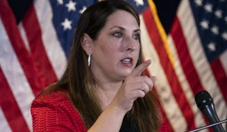 Republican National Committee chairwoman Ronna McDaniel speaks during a news conference at the Republican National Committee, Monday, Nov. 9, 2020, in Washington. (AP Photo/Alex Brandon)