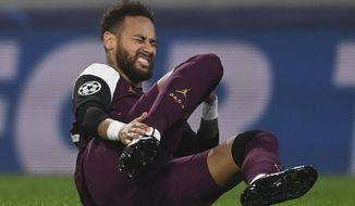 PSG's Neymar reacts after he was blocked during the Champions League group H soccer match between Basaksehir and PSG in Istanbul, Wednesday, Oct. 28, 2020. (Ozan Kose/Pool via AP)