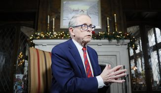 FILE- In this Dec. 13, 2019 file photo, Ohio Gov. Mike DeWine speaks about his plans for the coming year during an interview at the Governor's Residence in Columbus, Ohio. DeWine will give a statewide address Wednesday, Nov. 11, 2020, making it the second time he will make a public appeal about the severity of the coronavirus' spread since the pandemic began in March. (AP Photo/John Minchillo, File)