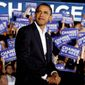 Then-presidential candidate Barack Obama prepares to join running mate Joseph R. Biden on stage in Fredericksburg, Virginia, in 2008. (Associated Press) ** FILE **