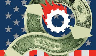 Illustration on U.S. spending by Linas Garsys/The Washington Times