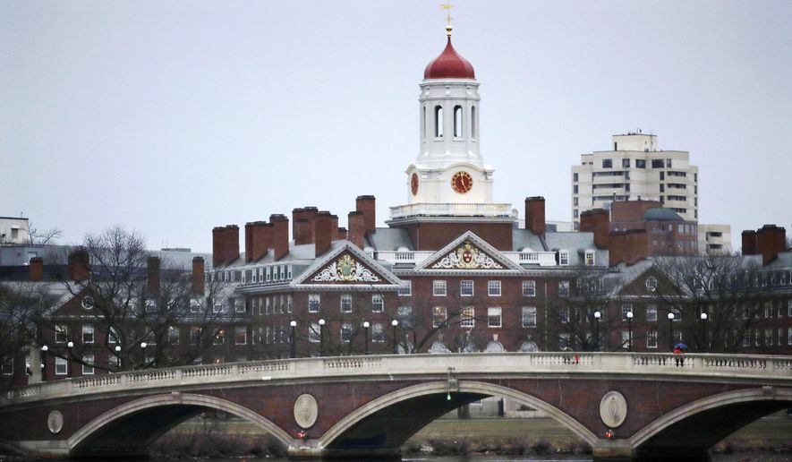 In this March 7, 2017, file photo, rowers paddle along the Charles River past the Harvard University campus in Cambridge, Mass.  (AP Photo/Charles Krupa, File)  **FILE**
