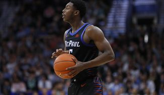 FILE - In this Jan. 14, 2020, file photo, DePaul's Jalen Coleman-Lands holds the ball during the team's NCAA college basketball game against Villanova in Villanova, Pa. Coleman-Lands is yet to play a game for Iowa State, and he already is looked at as a kind of sage by coach Steve Prohm and the rest of the Cyclones. The graduate transfer has 110 career games under his belt from time spent at Illinois and DePaul. He's a scorer with a knack for shooting the 3-pointer, and he's a strong defender on the perimeter. (AP Photo/Matt Slocum, File)