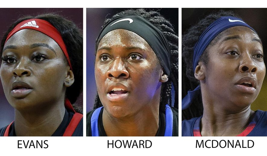 FILE  - These are 2019 and 2020 file photos showing, from left: Aliyah Boston, Dana Evans, Rhyne Howard, Aari McDonald and Michaela Onyenwere. Rhyne Howard is rewriting the record books at Kentucky and she's only a junior. Now the Wildcats star is the first player from the school to be honored as a preseason All-American by The Associated Press. Howard was a unanimous choice from the 30-member national media panel Thursday, Nov. 12, 2020. She was joined on the five-person team by sophomore Aliyah Boston of South Carolina, who was also a unanimous pick. Seniors Dana Evans of Louisville, Aari McDonald of Arizona and Michaela Onyenwere of UCLA. (AP Photo/File)
