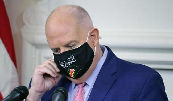 Maryland Gov. Larry Hogan gets ready to take questions from journalists during a news conference on Thursday, Nov. 12, 2020 in Annapolis, Md., where the governor announced how about $70 million in federal money will be used to help fight the virus. (AP Photo/Brian Witte)
