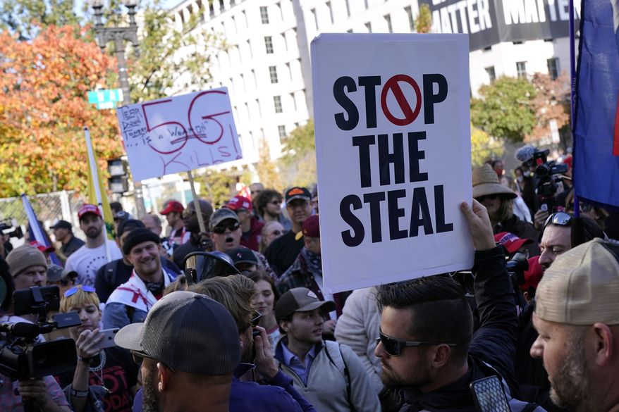 Supporters of President Donald Trump protest Friday Nov. 13, 2020, in Washington. (AP Photo/Jacquelyn Martin)