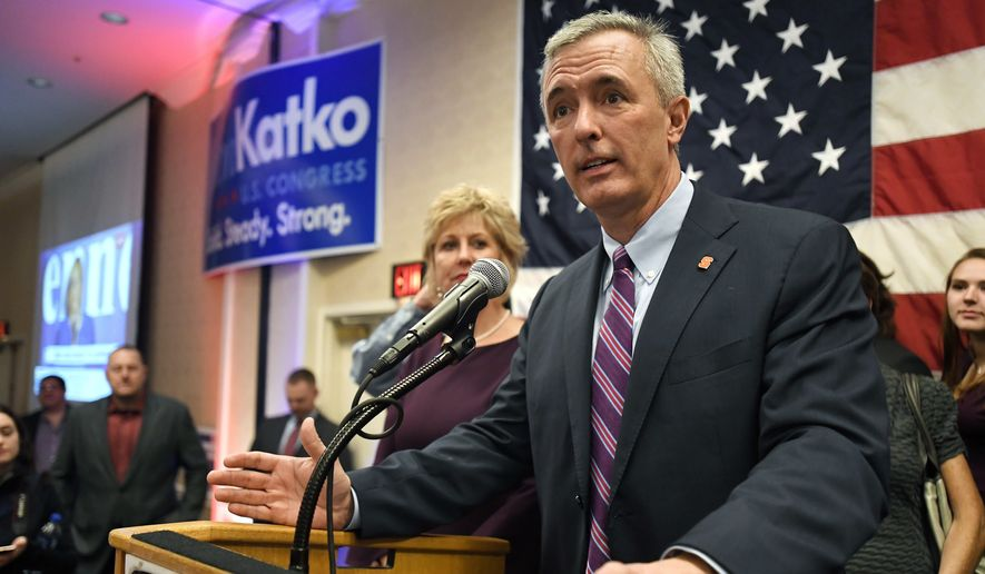 This Tuesday Nov. 6, 2018 file photo shows Rep. John Katko, R-N.Y., as he thanks his supporters at the Onondaga County GOP Election Night Celebration in Syracuse, N.Y. Dana Balter, the Democrat challenging Republican U.S. Rep. John Katko in a battleground district in central New York conceded the race Friday, Nov. 13, 2020. (AP Photo/Adrian Kraus, File)