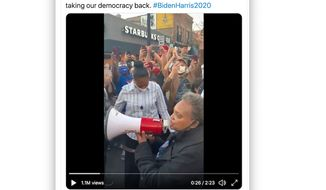 Chicago Mayor Lori Lightfoot celebrates former Vice President Joseph R. Biden's 2020 election performance with a crowd in a video posted to her Twitter timeline Nov. 7, 2020. (Image: Twitter, Lori Lightfoot, full-tweet screenshot)