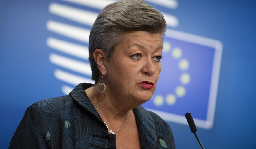European Commissioner for Home Affairs Ylva Johansson speaks during a media conference after a meeting of EU interior ministers at the European Council building in Brussels, Friday, Nov. 13, 2020. (AP Photo/Virginia Mayo, Pool)