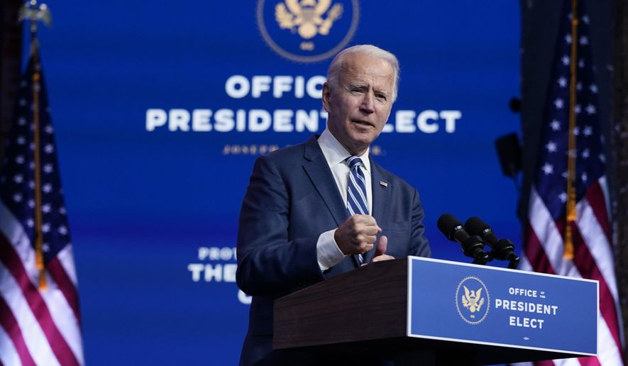 President-elect Joe Biden speaks at The Queen theater, Tuesday, Nov. 10, 2020, in Wilmington, Del. (AP Photo/Carolyn Kaster)