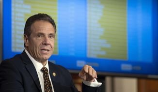 In this Oct. 21, 2020, photo provided by the Office of Governor Andrew M. Cuomo, Gov. Cuomo provides a coronavirus update during a news conference in the Red Room at the State Capitol in Albany, N.Y. (Mike Groll/Office of Governor Andrew M. Cuomo)