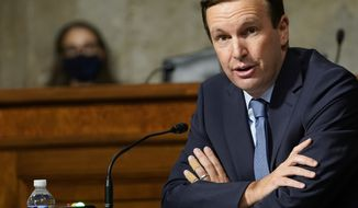 In this Sept. 24, 2020 file photo, Sen. Chris Murphy, D-Conn., speaks during a Senate Foreign Relations Committee hearing on Capitol Hill in Washington. Mr. Murphy and fellow Democratic Sen. Robert Menendez of New Jersey are joining Sen. Rand Paul, Kentucky Republican, in opposing the Trump administration's planned $23 billion sale of weapons to the United Arab Emirates. (AP Photo/Susan Walsh, Pool, File)  **FILE**