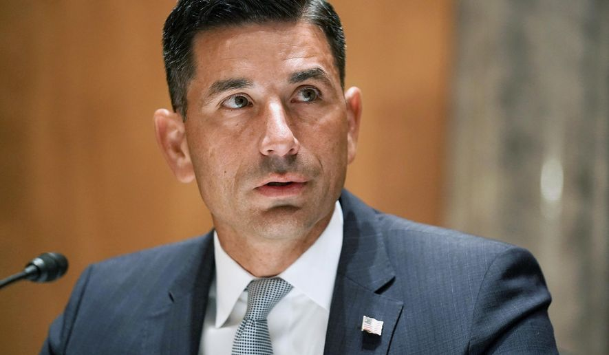 Department of Homeland Security acting Secretary Chad Wolf makes an opening statement at his confirmation hearing before the Senate Homeland Security and Governmental Affairs Committee on Capitol Hill in Washington. (Greg Nash/Pool Photo via AP, File)