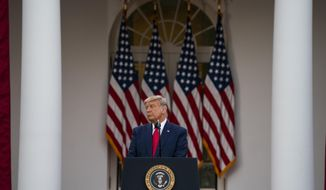 President Donald Trump speaks in the Rose Garden of the White House, Friday, Nov. 13, 2020, in Washington. (AP Photo/Evan Vucci)