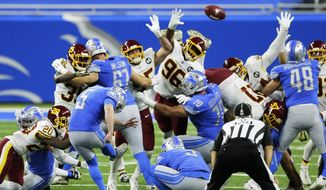 Detroit Lions kicker Matt Prater (5) boots the winning field goal with seconds remaining during the second half of an NFL football game against the Washington Football Team, Sunday, Nov. 15, 2020, in Detroit. (AP Photo/Duane Burleson) **FILE**