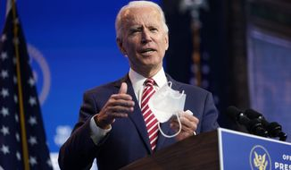 Presumptive President-elect Joe Biden, accompanied by Vice President-elect Kamala Harris, speaks about economic recovery at The Queen theater, Monday, Nov. 16, 2020, in Wilmington, Del. (AP Photo/Andrew Harnik)