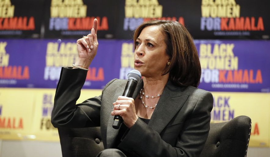 FILE - Sen. Kamala Harris, D-Calif., speaks at a Black Women's Power Breakfast co-hosted by Higher Heights and The Collective PAC at the Westin in Atlanta, in this Nov. 21, 2019, file photo. Women's advocates are celebrating the ascension of Harris to the second highest office in the land. (Bob Andres/Atlanta Journal-Constitution via AP, File)