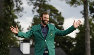 Dustin Johnson during the final round of the Masters golf tournament Monday, Nov. 16, 2020, in Augusta, Ga. (AP Photo/Matt Slocum) **FILE**