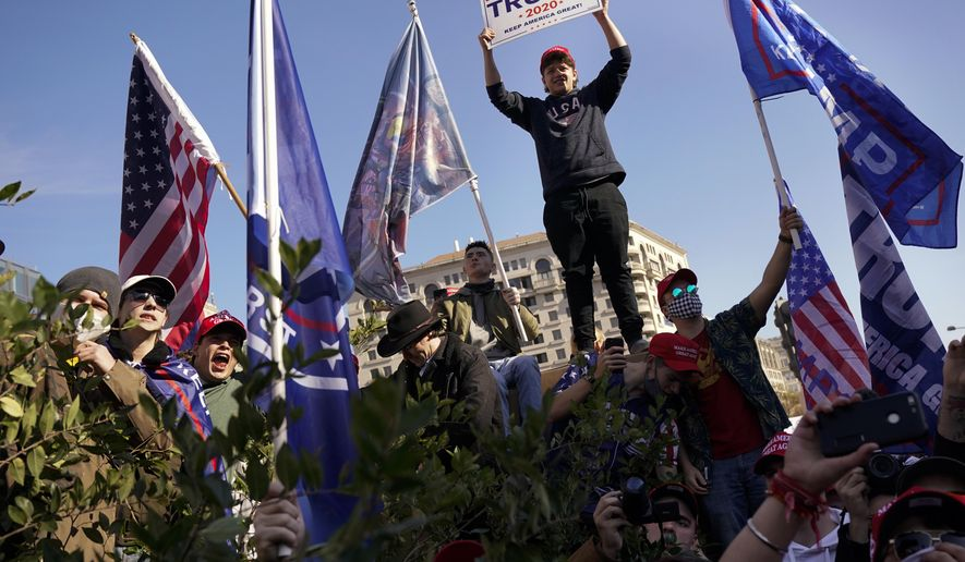 Supporters of President Donald Trump attend a pro-Trump march Saturday Nov. 14, 2020, in Washington. (AP Photo/Jacquelyn Martin)