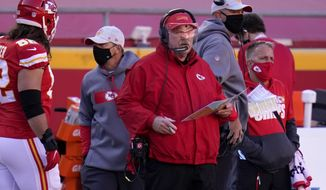 Kansas City Chiefs head coach Andy Reid watches play against the New York Jets in the second half of an NFL football game on Sunday, Nov. 1, 2020, in Kansas City, Mo. (AP Photo/Jeff Roberson)