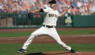 San Francisco Giants starting pitcher Drew Smyly works in the first inning of a baseball game against the San Diego Padres Sunday, Sept. 27, 2020, in San Francisco. (AP Photo/Eric Risberg)