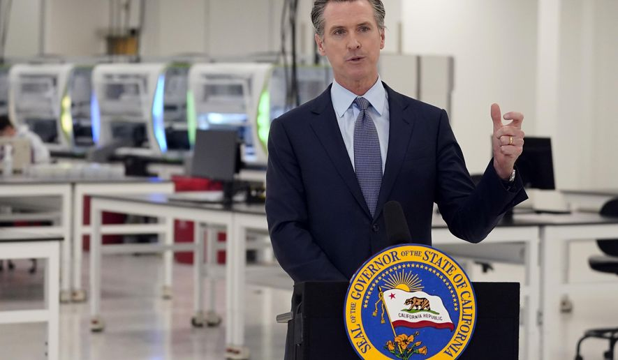 """FILE - In this Oct. 30, 2020, file photo, California Gov. Gavin Newsom speaks at a COVID-19 testing facility in Valencia, Calif. Newsom on Monday, Nov. 16, 2020, apologized for what he called """"a bad mistake"""" in attending a birthday party that broke the very rules that he has been preaching to slow the spread of the coronavirus. (AP Photo/Marcio Jose Sanchez, Pool, File)"""