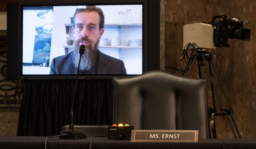 Twitter CEO Jack Dorsey testifies remotely during a Senate Judiciary Committee hearing on Facebook and Twitter's actions around the closely contested election on Tuesday, Nov. 17, 2020, in Washington. (Bill Clark/Pool via AP)