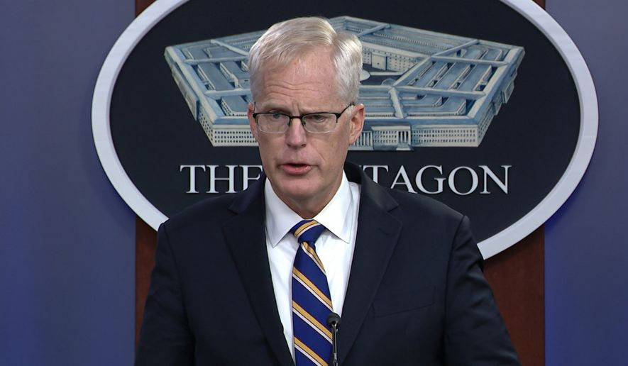 In this Tuesday, Nov. 17, 2020, image taken from a video provided by Defense.gov, acting Defense Secretary Christopher Miller speaks at the Pentagon in Washington. (Defense.gov via AP) ** FILE **