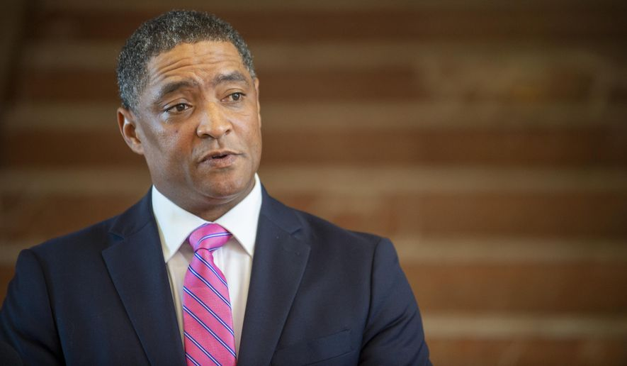 Rep. Cedric Richmond, D-La., speaks at the New Orleans Lakefront Airport, Tuesday, Nov. 17, 2020, in New Orleans, where he announced he's leaving Congress to work as an adviser to President-elect Joe Biden. (Chris Granger/The Times-Picayune/The New Orleans Advocate via AP) **FILE**