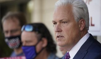In this file photo, Matt Schlapp, chairman of the American Conservative Union, speaks at a news conference Tuesday, Nov. 17, 2020, in Las Vegas. (AP Photo/John Locher)  ** FILE **