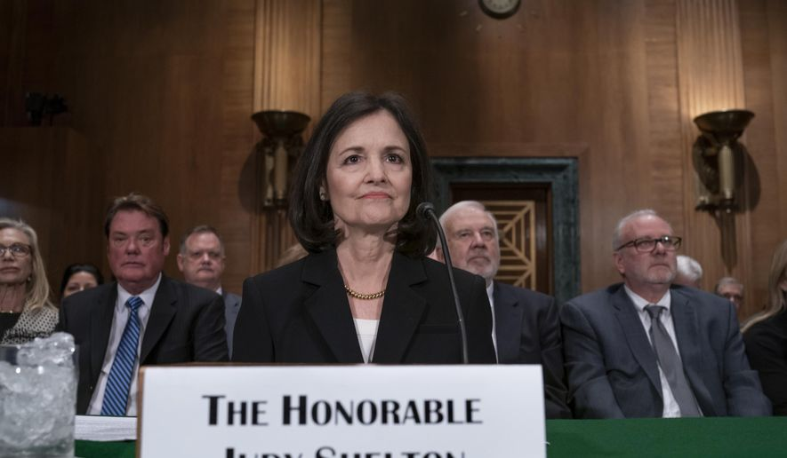 In this Feb. 13, 2020 file photo, President Donald Trump's nominee to the Federal Reserve, Judy Shelton, appears before the Senate Banking Committee for a confirmation hearing, on Capitol Hill in Washington.  (AP Photo/J. Scott Applewhite, File)  **FILE**