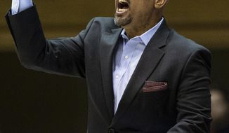 FILE - In this Nov. 15, 2019, file photo, Georgia State head coach Rob Lanier shouts to his team during an NCAA college basketball game against Duke in Durham, N.C. Georgia Tech and Georgia State announced Wednesday, May 13, 2020, that the city rivals will play a three-game men's basketball series beginning in December, their first match-up during the regular season since 2008. The Atlanta schools are only about three miles apart.  (AP Photo/Ben McKeown, File)