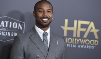 """FILE - Michael B. Jordan arrives at the Hollywood Film Awards on Nov. 4, 2018, in Beverly Hills, Calif. Jordan has been crowned as 2020's Sexiest Man Alive by People magazine. Known for his critically-acclaimed performances in """"Fruitvale Station,"""" """"Creed"""" and """"Black Panther,"""" he was revealed as this year's winner Tuesday, Nov. 17, 2020, on ABC's """"Jimmy Kimmel Live!"""" (Photo by Jordan Strauss/Invision/AP, File)"""